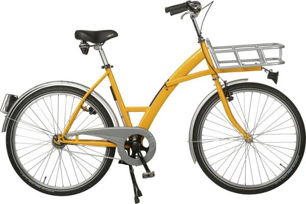 Transportfahrrad Modus gelb, Beleuchtung mit Lastenträger